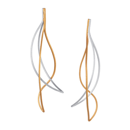 Gold & Silver Long Stud Earrings