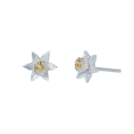 Silver & Gold Daffodil Stud Earrings