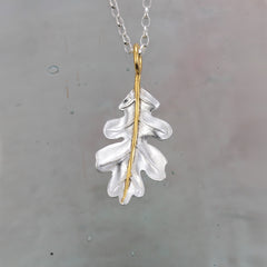 Silver & Gold Oak Leaf Pendant