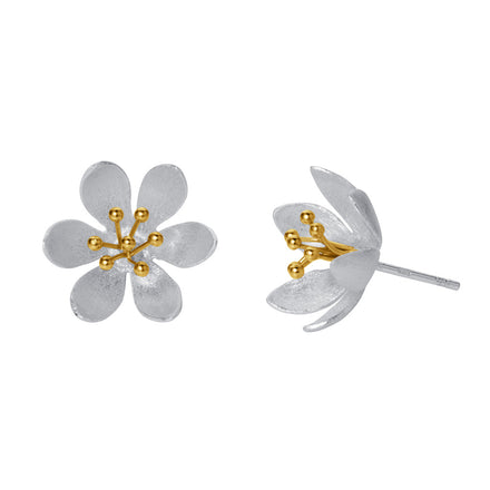 Silver & Gold Flower Stud Earrings