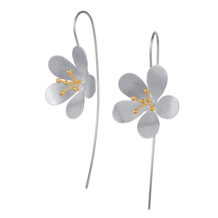 Large Silver & Gold Flower Earrings
