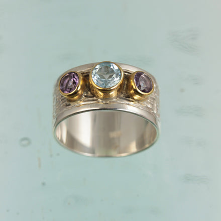Blue Topaz Amethyst Silver & Gold Ring
