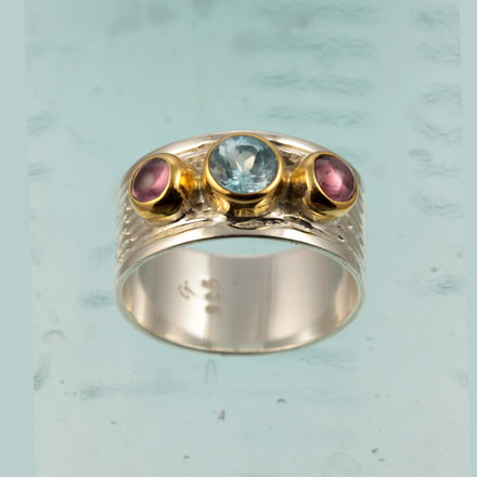 Blue Topaz Tourmaline Silver & Gold Ring