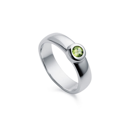 Silver Solitaire Ring With Peridot Stone