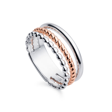 Trio Rose Gold & Silver Ring
