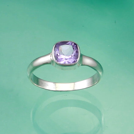 Cushion Cut Amethyst Silver Solitaire Ring