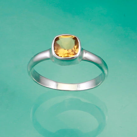 Square Citrine & Silver Solitaire Ring