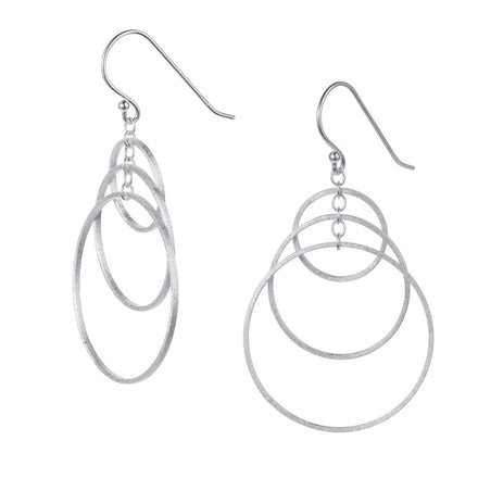 Three Hoop Silver Drop Earrings