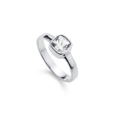 White Topaz Silver Gem Squared Ring
