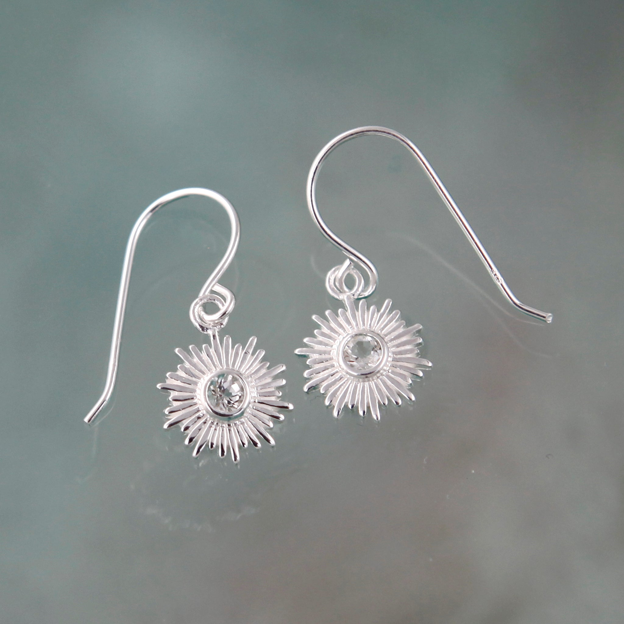 Silver and White Topaz Sun Earrings