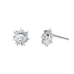 Silver and White Topaz Sun Stud Earrings