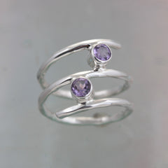 Amethyst Silver Wrap-Around Ring