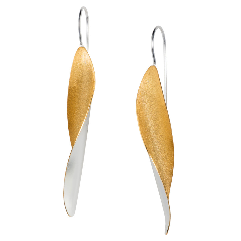 Long Silver and Gold Leaf Hook Earrings