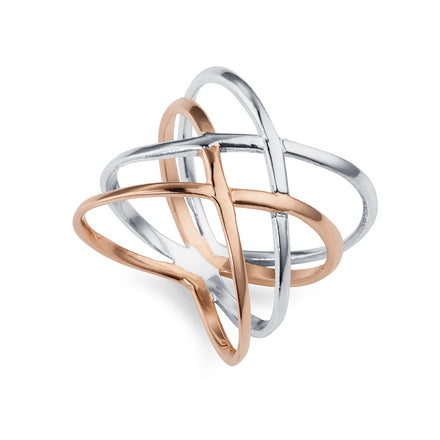 Silver and Rose Gold Criss Cross Ring