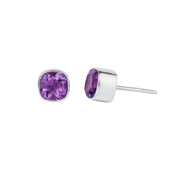 Amethyst and Silver Gem Squared Stud Earrings