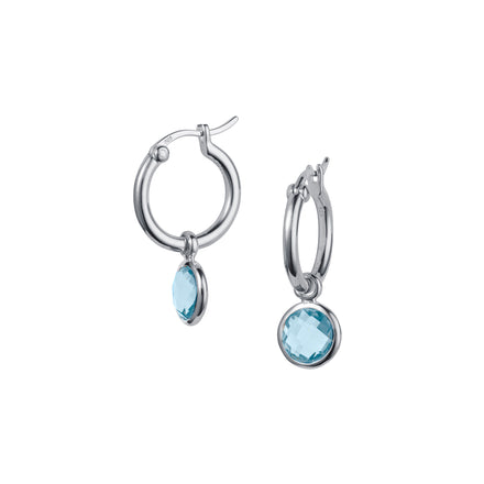 Product Shot of Silver and Blue Topaz Huggie Hoop Earrings