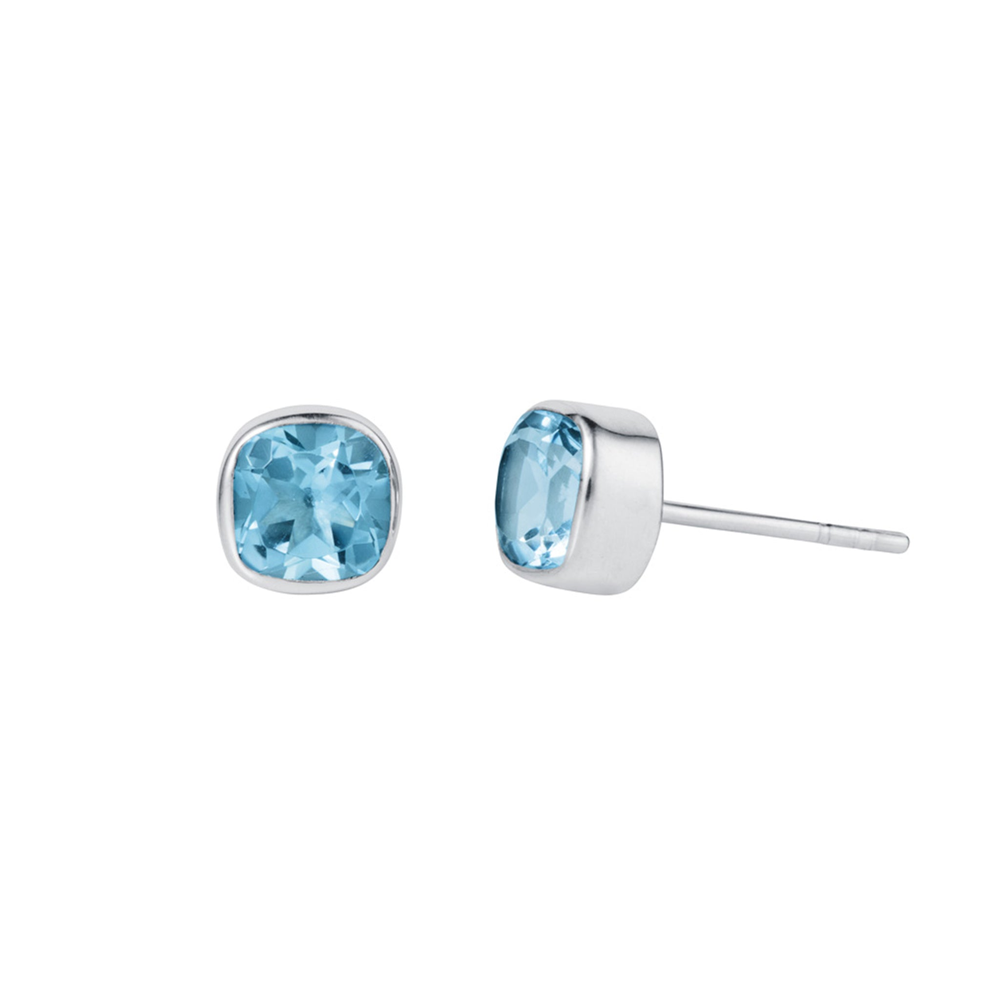 Blue Topaz and Silver Gem Squared Stud Earrings