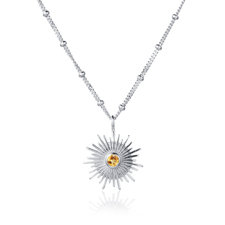 Silver and Citrine Sun Necklace