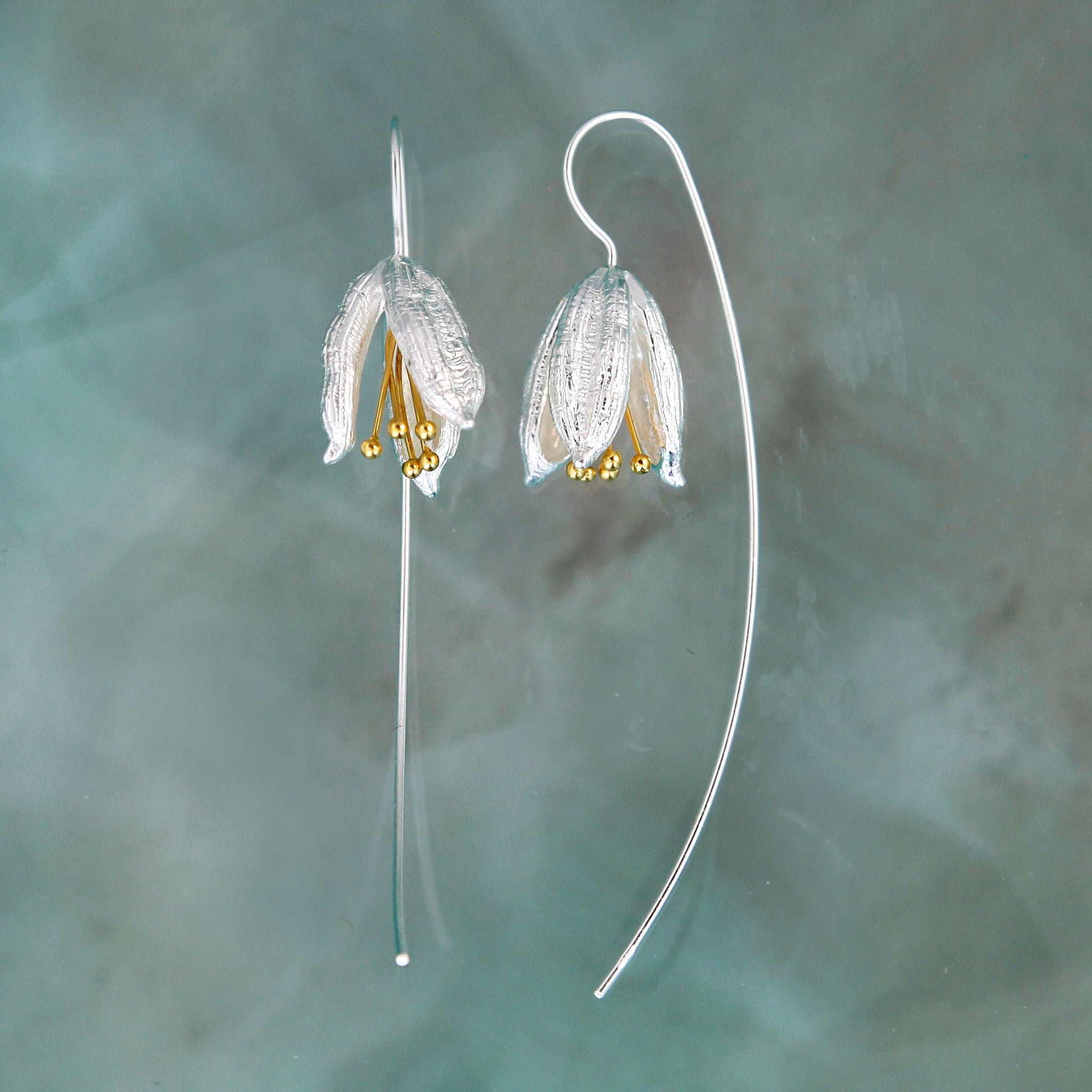 Magnolia Silver & Gold Flower Earring