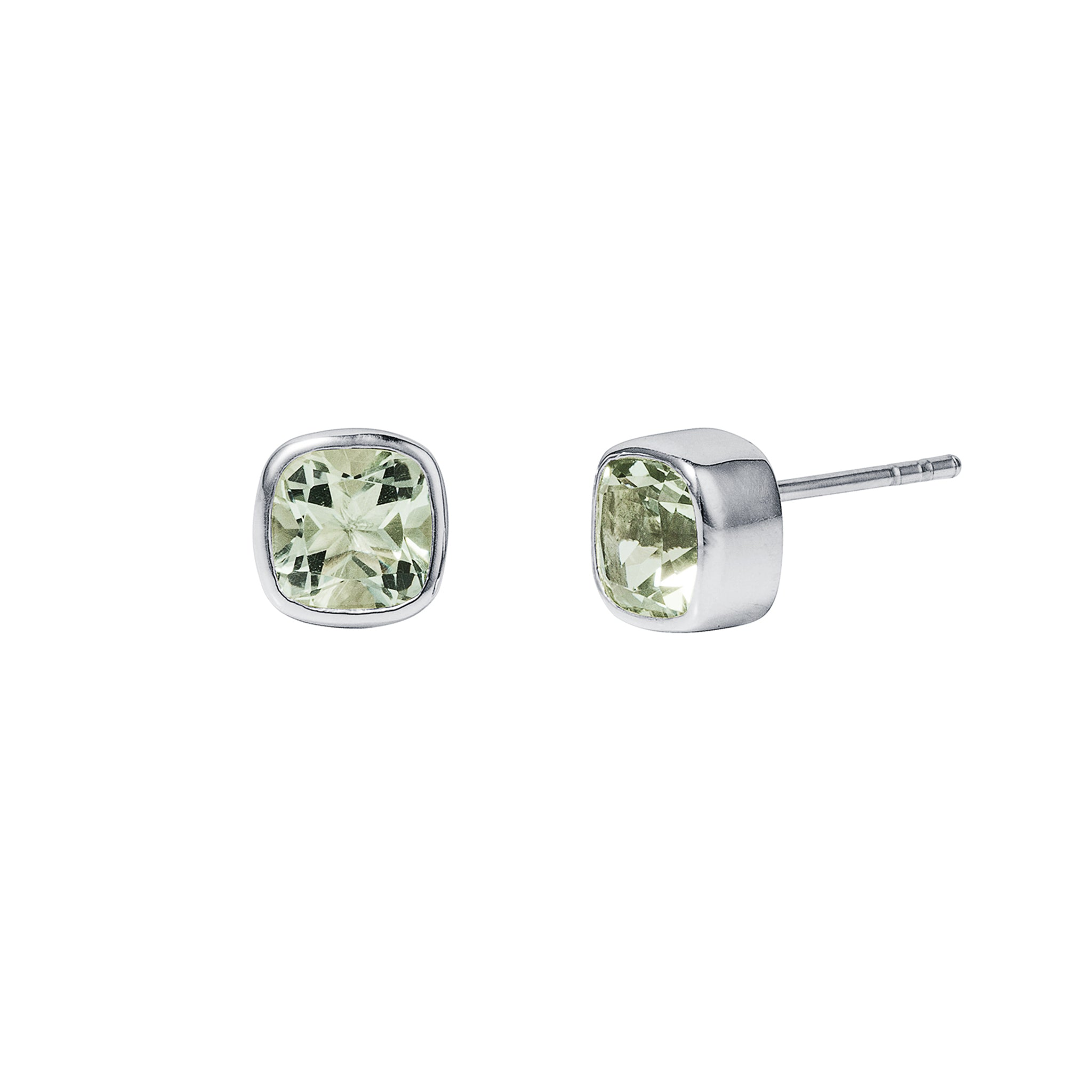 Green Amethyst Silver Gem Squared Stud Earrings