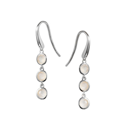 Image of Silver and Triple Moonstone Huggie Hoop Earrings