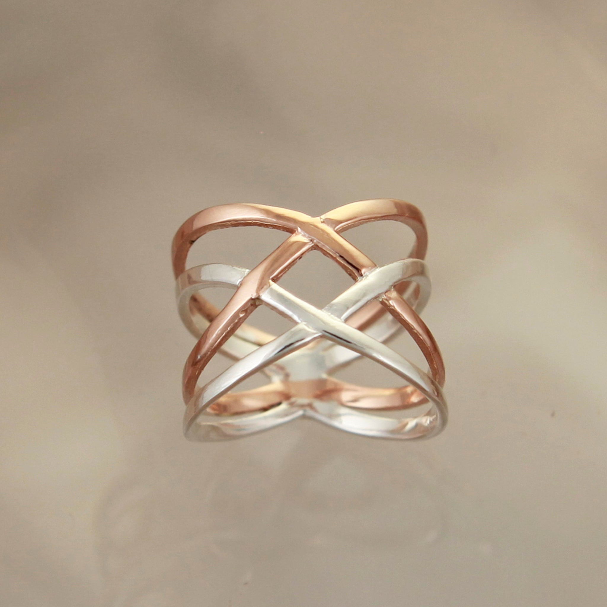 Silver and Rose Gold Crossover Ring