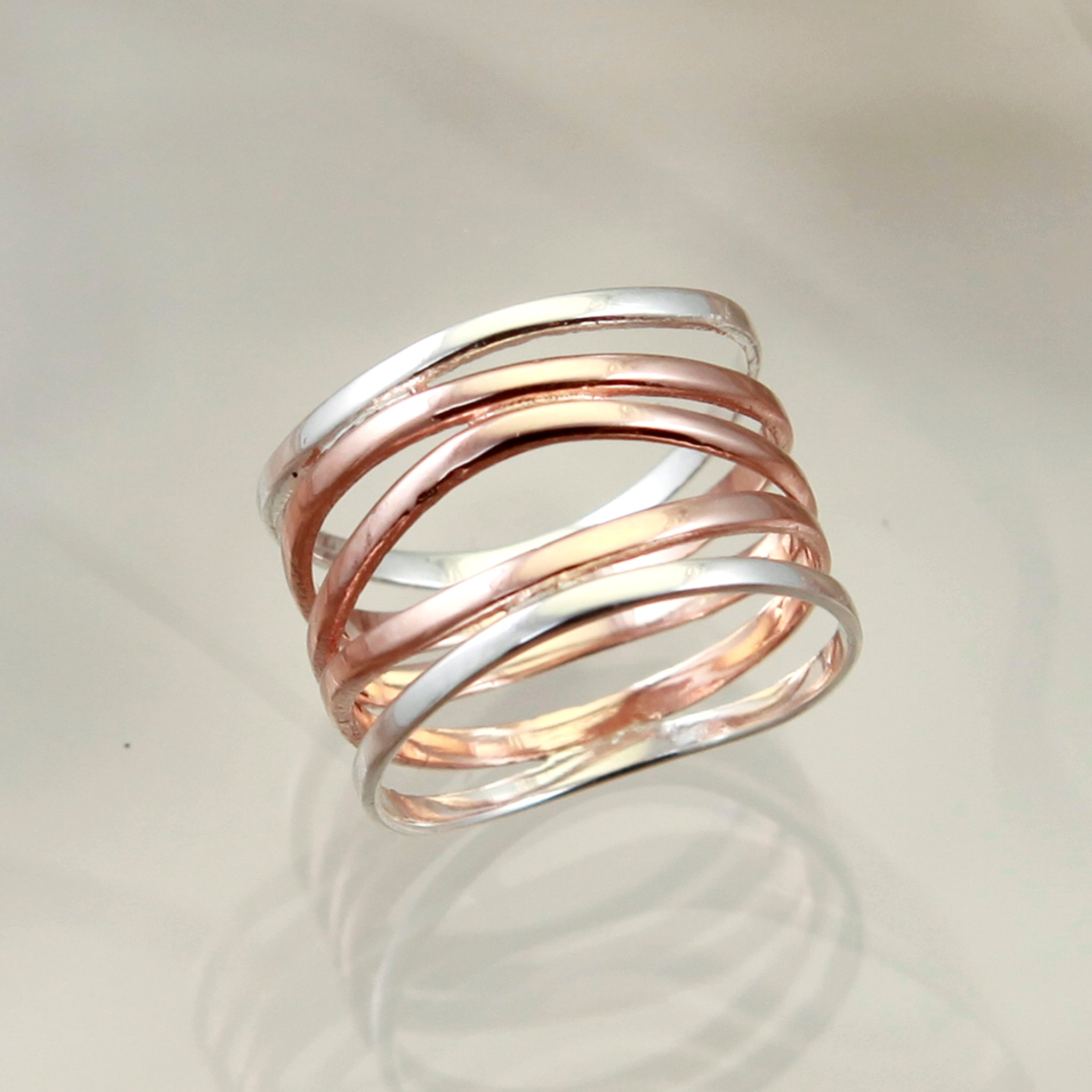 High Wrap Silver and Rose Gold Ring