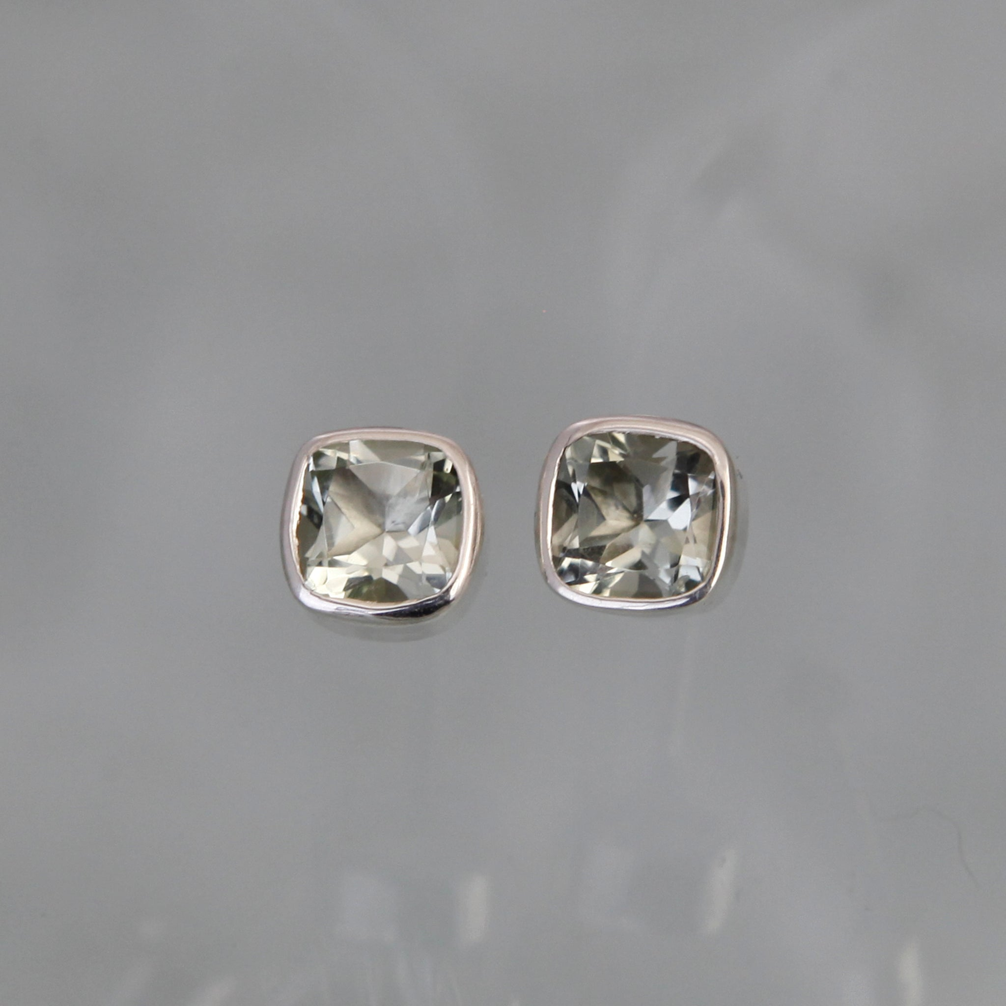 White Topaz and Silver Gem Squared Stud Earrings