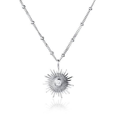 Silver and White Topaz Sun Necklace