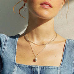 Model Shot of Silver Mini Acorn Necklace with Gold Heart