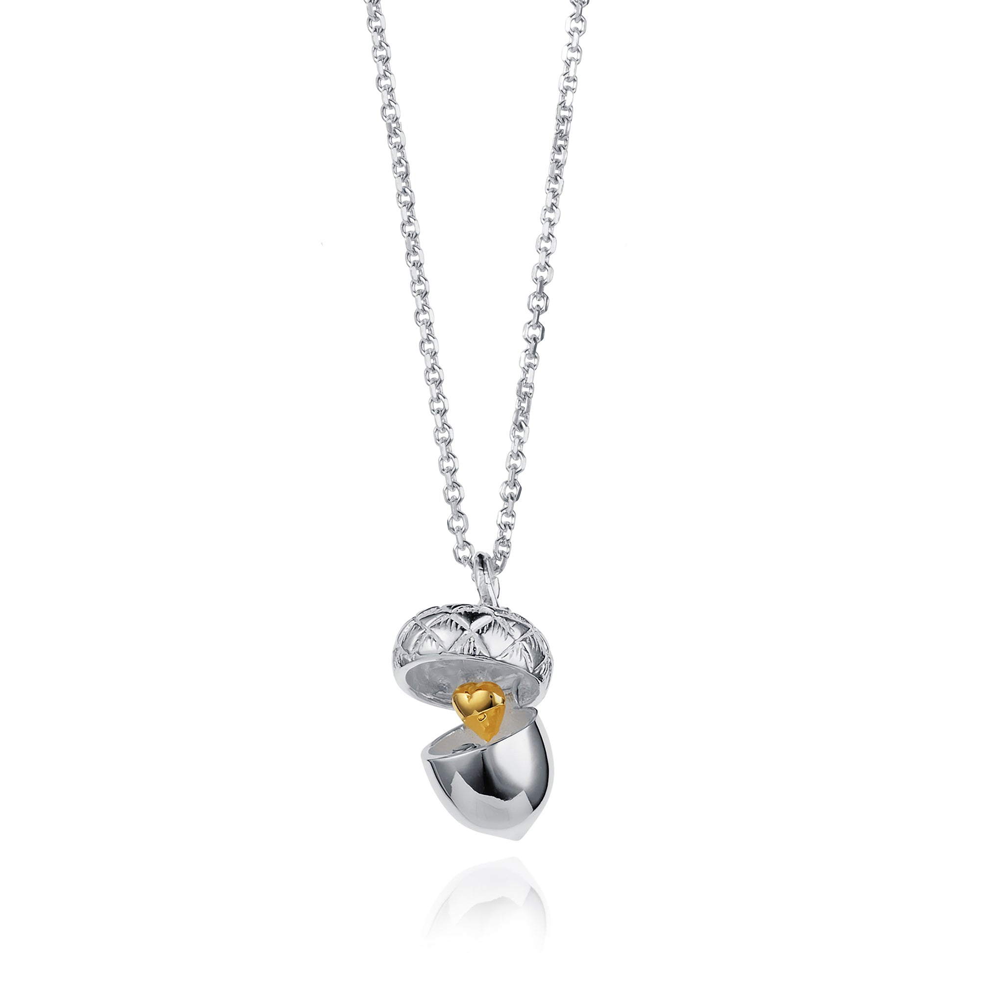 Photo of Open Silver Mini Acorn Necklace with Gold Heart
