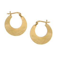 Small Matte Gold Plated Silver Hoop Earrings
