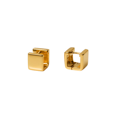 Gold Huggie Wide Square Hoop Earrings