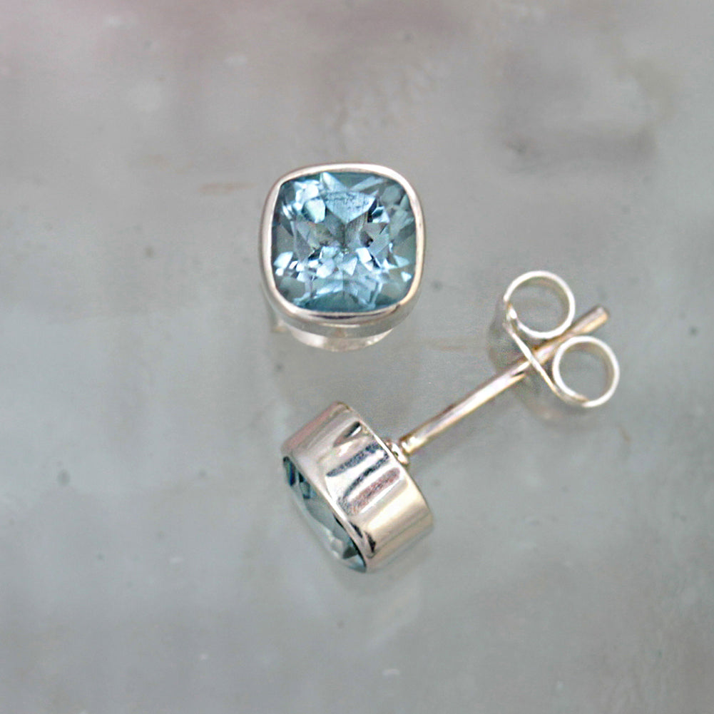 Square Silver and Blue Topaz Stud Earrings