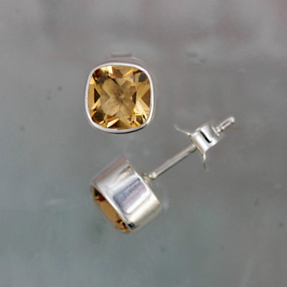Square Silver and Citrine Stud Earrings
