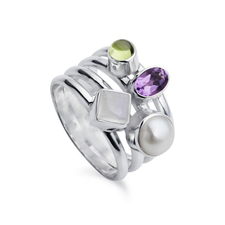 Silver Cluster Ring With Amethyst.