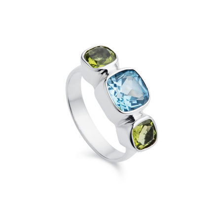 Forget-Me-Not Blue Topaz & Peridot Silver Ring