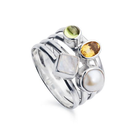Silver Cluster Ring With Citrine