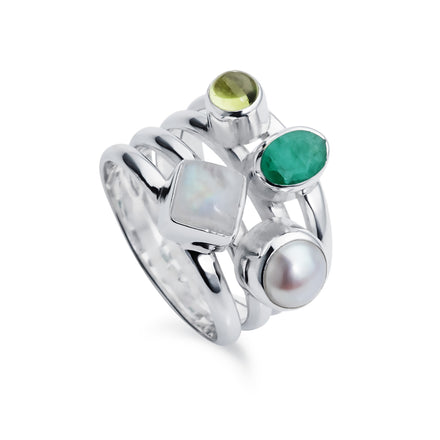 Silver Cluster Ring with Emerald
