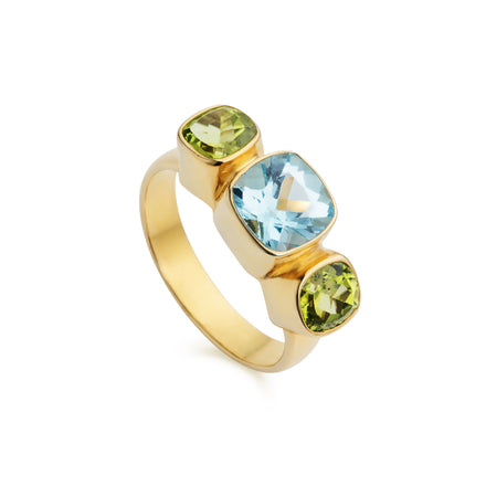 Blue Topaz & Peridot Forget-Me-Not Gold Vermiel Ring