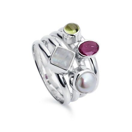 Silver Cluster Ring With Ruby