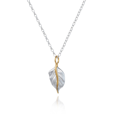 Golden Leaf Silver Pendant