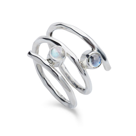 Fine Twist Moonstone Silver Ring