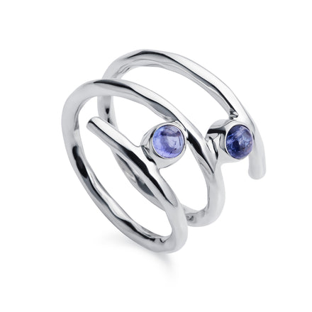Fine Twist Tanzanite Silver Ring