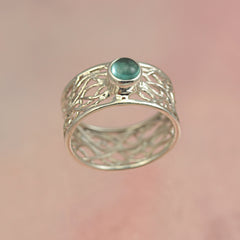 Apatite Silver Fillligree Ring