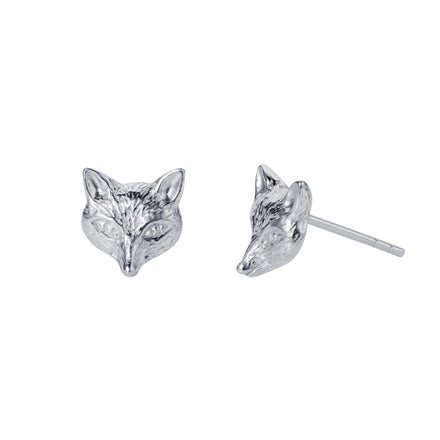 Silver Fox Head Stud Earrings