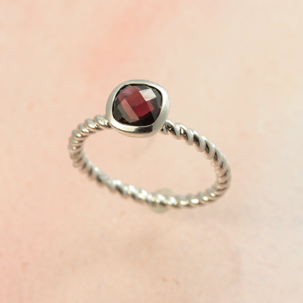 Garnet Silver Solitaire Ring