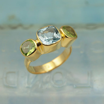 Blue Topaz and Peridot Gold Ring