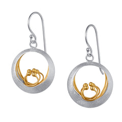 Round Silver & Gold Earrings