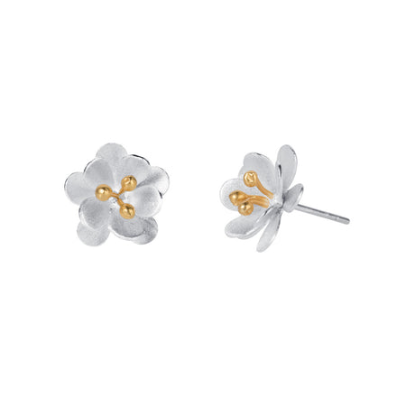 Small Silver Flower Stud Earring